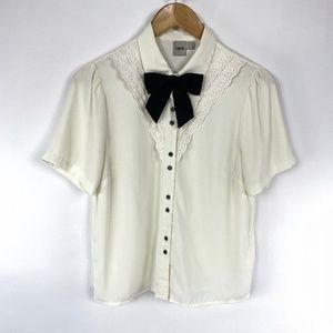 ASOS Button Up Shirt Blouse Ivory Black Bow 3650